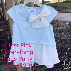 Maggie & Zoe Tulle Bottom Blouse Bow Heather Blue